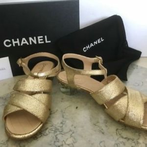 NEW Metallic Gold CHANEL Sandals